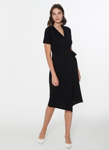 Loves You Anvelop Kapama Örme Elbise Siyah